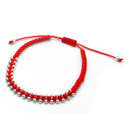 PULSERA DOBLE BOLITAS ROJA REGULABLE