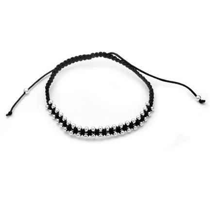 PULSERA DOBLE BOLITAS NEGRA REGULABLE