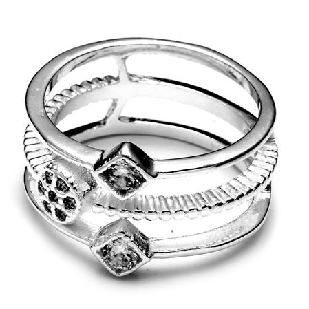20 OFF ANILLO ROMBOS Y FLOR CON CUBIC CRISTAL