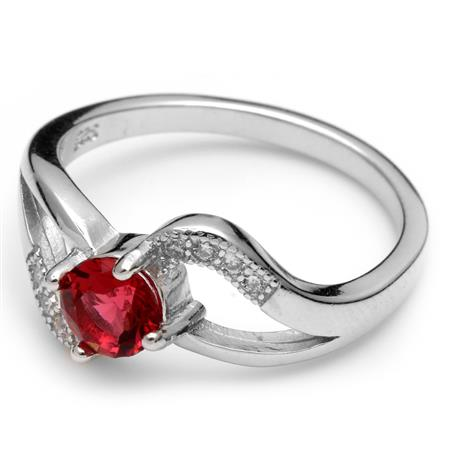 ANILLO CUBIC ROJO Y MICROPAVE