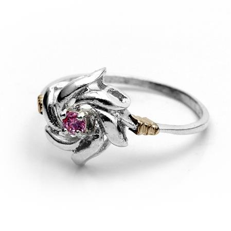 ANILLO FLOR CUBIC ROSA